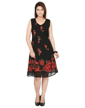Picture of AK FASHION Black & Red Printed A Line Dress