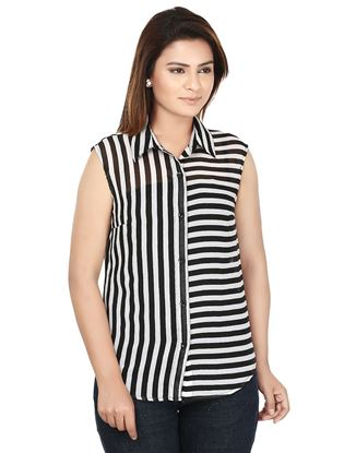 Picture of AK FASHION Black & White Striped Shirt