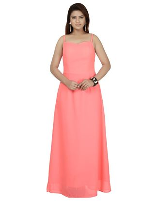 Picture of AK FASHION Pink Solid Maxi Dress
