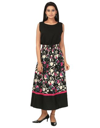 Picture of AK FASHION Black & Pink Maxi Fit and Flare Dress