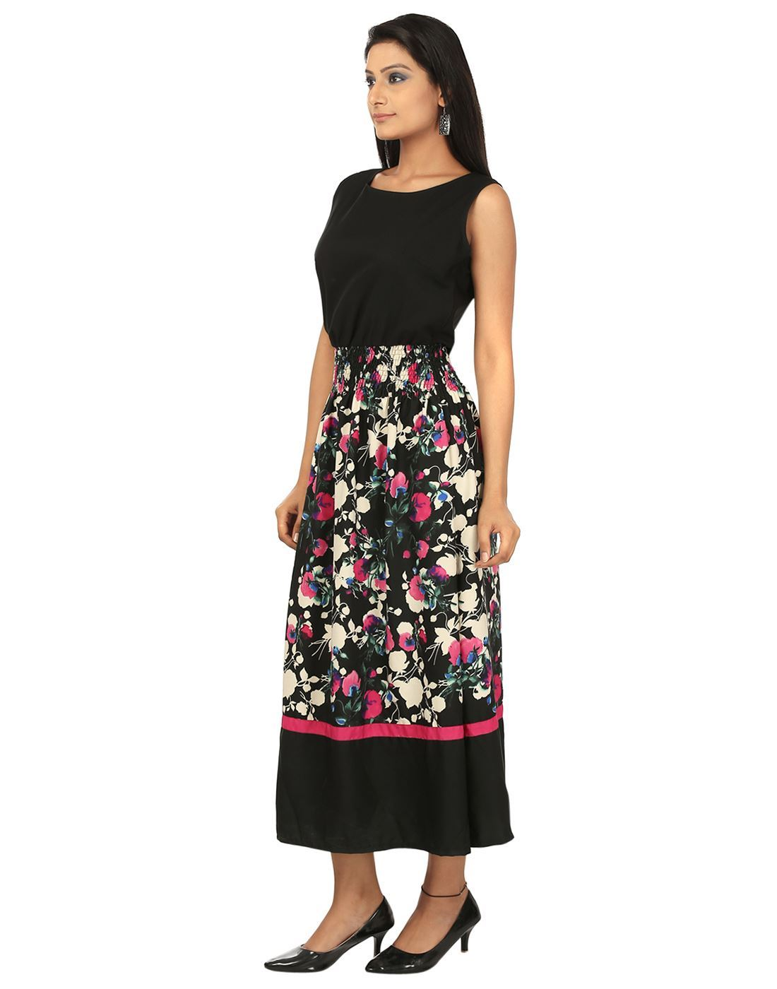 99a9b4d068 ... Picture of AK FASHION Black & Pink Maxi Fit and Flare Dress ...