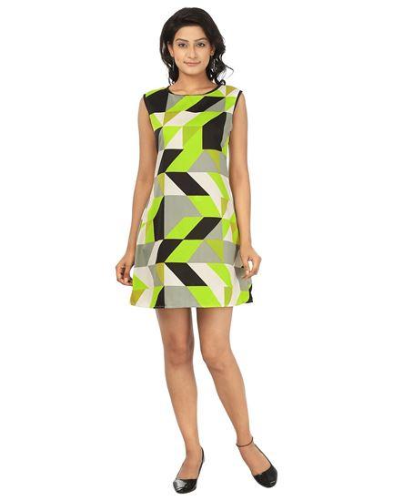 Picture of AK FASHION Yellow & Black Mini Shift Dress