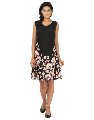 Picture of AK FASHION Black & White Midi A-line Dress