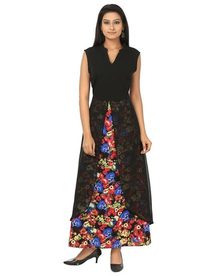 Picture of AK FASHION Black & Red Maxi Layered Dress