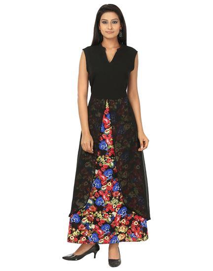 3694c68eac AK Fashion. AK FASHION Black & Red Maxi Layered Dress