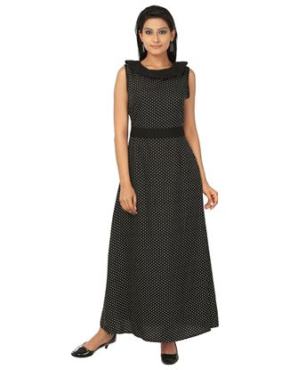 Picture of AK FASHION Black & White Maxi Fit and Flare Dress